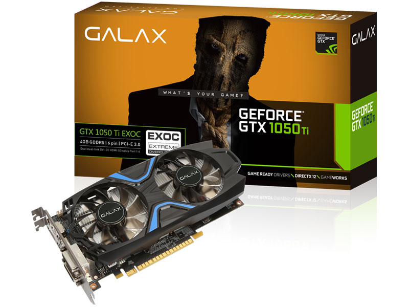 Geforce Galax Gtx Performance 1050TI EXOC 4GB DDR5 128BIT 7008MHZ DVI HDMI DP